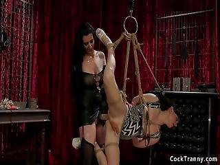 Beautiful Tranny Natalie Mars In Rope Suspension Gets Anal Fucked By Mistress Cherry Torn Then Anal Fucks Her And Fists Her Asshole
