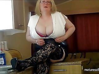 Big Boob, Boob, Fishnet, Mature, Stocking, Stripping