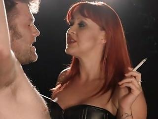 Smoking Mistress Dominating Her Slave With Smoke Spit And Whip