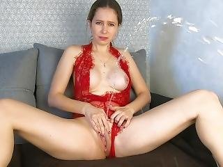 Fingering My Wet Pussy In Red Lingerie - Catherinerain