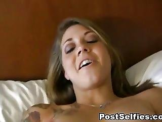 Seductive Busty Babe Films Her Sweet Pussy Masturbation