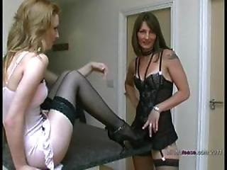 Hot Lesbians Talking Dirty In Stilettos And Stockings