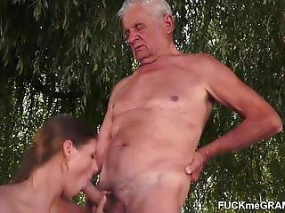 おじいさん, アウトドア, おまんこ, 3P