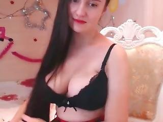 Super Sexy Long Haired Polish Hairplay, Striptease And Masturbating