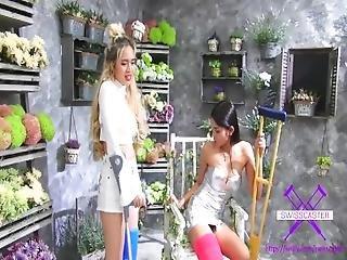 Fetish Concept.com   2 Girls With Long Cast Leg Visit A Flower Store Part 1