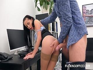 Sexy Ravenhair Slut Fucked In The Office