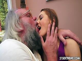 Old Man Bangs Dominica Fox%27s Tight Young Pussy