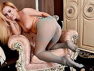Cute Stunning Blonde Lena Spanks Strips Off And Masturbates In Sheer Sexy Nylon Pantyhose
