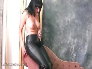 Busty Naked Babe With Hot Curvy Body Gives Closeups As She Puts On Her Skin Tight Leather Pants