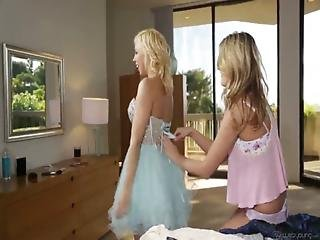 2 Hot Blonde Lesbian Teens In Action