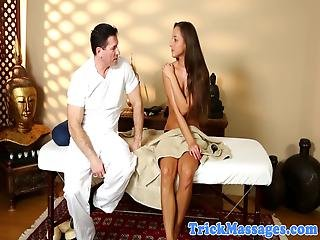 Big Ass Massage Babe Gets Sprayed With Cum