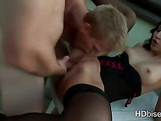 Two Guys Fuck One Pussy And Blow Each Other
