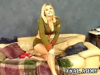 Superb Blond Army Hooker Celestia Star Masturbating Her Sexy Asshole