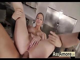 anal, brunette, cowgirl, milf, sexe, serveuse