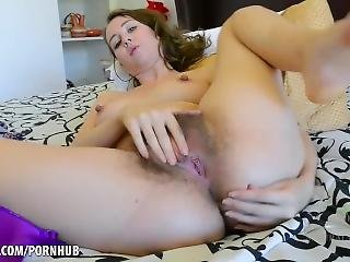 Aali Strokes Her Hairy Pussy And Cums