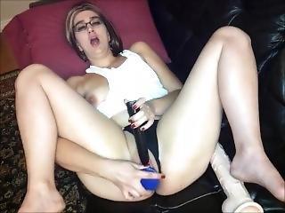 Trashy Milf Fucks Pussy With Thick Blue Dildo