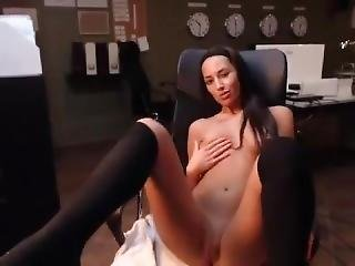 Sexy Brunete Nude On Webcam At Office