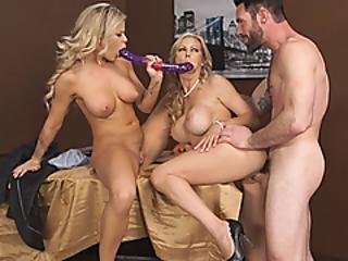 Busty Women Fucking A Double Sided Dildo And Get Fucked