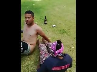 South African Couple Caught Fucking In The Park