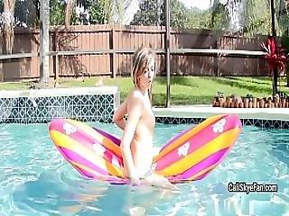 Joyful Well Shaped Cali Skye Is Dresses Off In The Pool