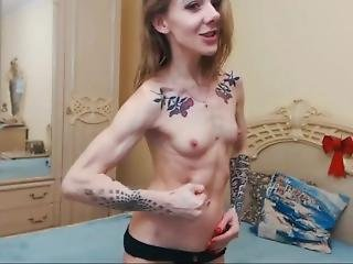 Skinny Athletic Girl Shows Muscles And Plays A Bit With Her Pussy