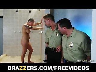 Busty prison inmate Eva Angelina gets gang-banged in the shower