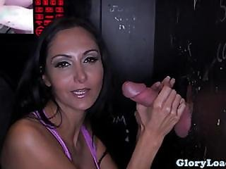 Busty Gloryhole Amateur Jerking Until Cumshot