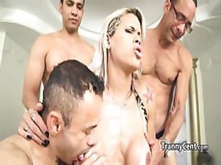 Latina Shemale Enjoy In Gangbang