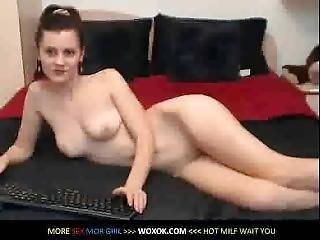 Brunette Posing Naked On Webcam