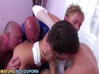 Asslicking Teen Does Three Old Men At Once