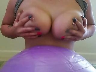 Bouncing Huge Boobs On Exercise Ball