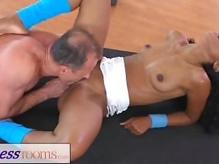 Fitnessrooms Interracial Yoga Class Sex With Ebony Teen