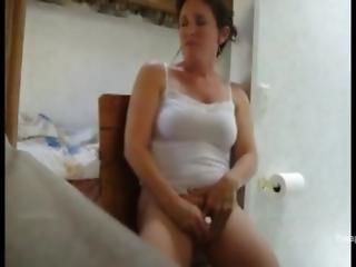 Milf Almost Caught Masturbating On The Toilet