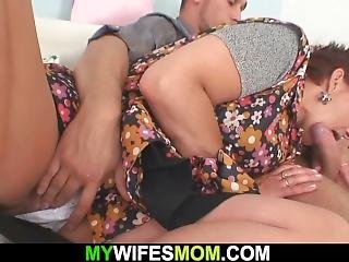 Cock-hungry Mother Inlaw Seduces Him