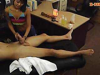 Asian Sells Her Massage Table And Pounded By Nasty Pawn Dude