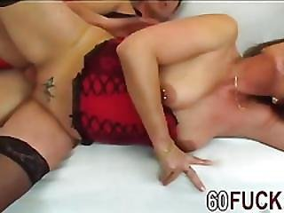 Nerdy Granny In Red Corset Gets Her Pussy Dominated By Hard Dick