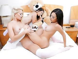 Bffs - Petite Teen Cuties Practice On Big Cock Stuffed Bear