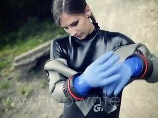 Wetsuit Girl Dressing Up In Drysuit