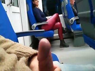 Naughty Blonde Jerking Off Stranger S Cock In The Bus