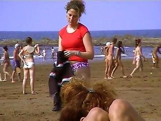 Young Nudist Undressing Beach
