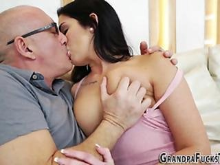 Small Titted Teen Slut Takes Pensioners Dick