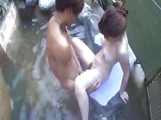 Asian Milf Has Banged And Creampied By Her Boy Outdoor