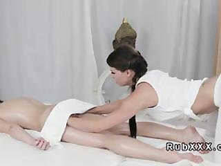 Babe Covered With Towel Gets Massage