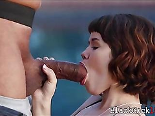 Asian Teen Babe Yhivi Fucked By Big Black Cock Outdoors