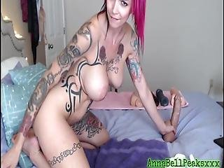 Anna Bell Peaks Shoves Big Black Cock In Tight Pussy