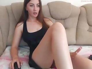 amatør, vakker, onanering, orgasme, fitte, russisk, solo, leker, vibrator, webcam