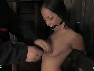 Kylie Huge Ball Gag, Nipple Clamps And Vibrated To Cum