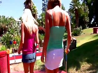 Dirty Blonde Dolls Play Sex Game Golf And Then Have Lesbie Group Sex