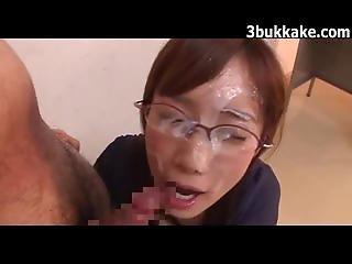 Asian Glasses Bukkake Babe