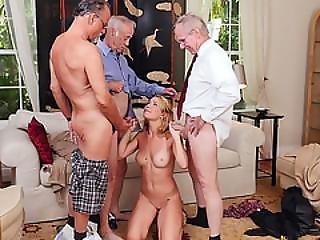 Blonde Teen Raylin Ann Gang Banged By Three Old Men